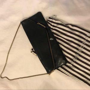 Henri Bendel Black Shiny Leather Clutch w Chain